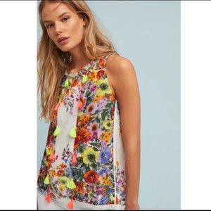 ANTHRO Raga Floral Tassel Tank Blouse Small